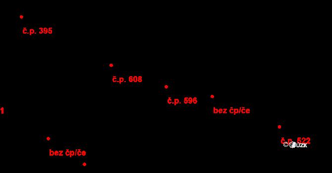 Neratovice 596 na parcele st. 609/1 v KÚ Neratovice, Katastrální mapa