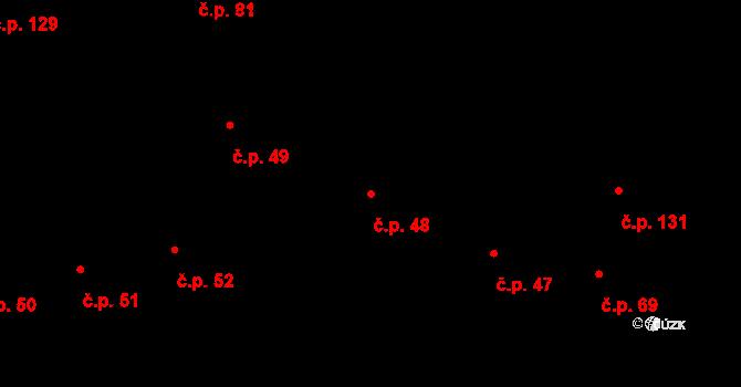 Sehradice 48 na parcele st. 129 v KÚ Sehradice, Katastrální mapa