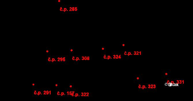 Humny 324, Pchery na parcele st. 608 v KÚ Pchery, Katastrální mapa