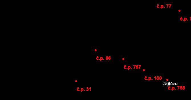 Podolí 86, Praha na parcele st. 269 v KÚ Podolí, Katastrální mapa