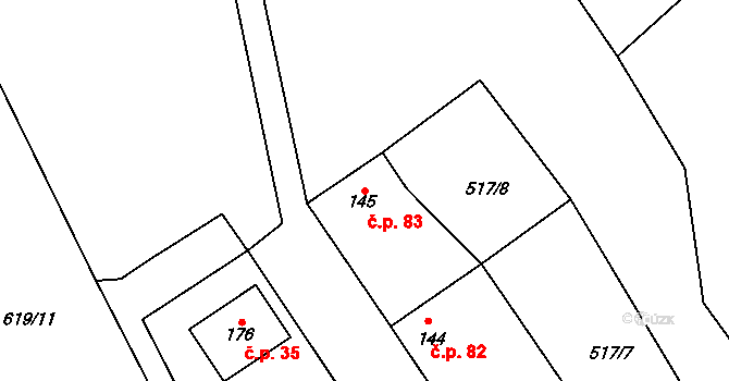 Stránka 83 na parcele st. 145 v KÚ Stránka u Mšena, Katastrální mapa