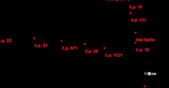 Hodolany 20, Olomouc na parcele st. 72/1 v KÚ Hodolany, Katastrální mapa