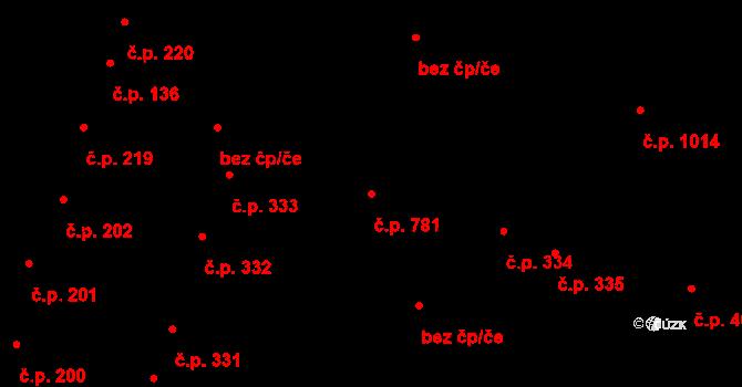 Rosice 781 na parcele st. 1617 v KÚ Rosice u Brna, Katastrální mapa
