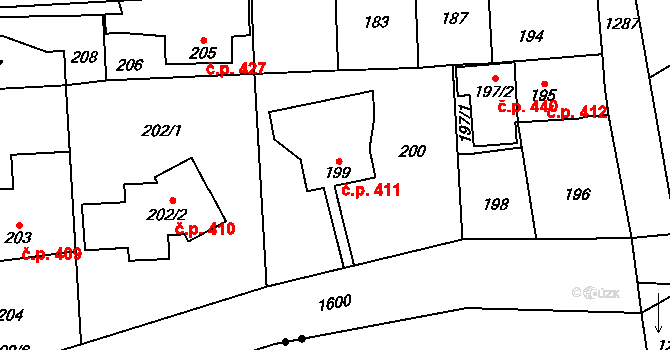Dolní Počernice 411, Praha na parcele st. 199 v KÚ Dolní Počernice, Katastrální mapa