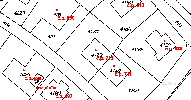 Liberec XIV-Ruprechtice 712, Liberec na parcele st. 417/2 v KÚ Ruprechtice, Katastrální mapa