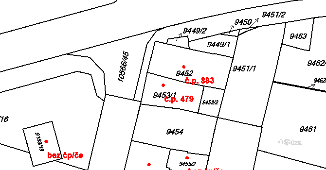 Jižní Předměstí 479, Plzeň na parcele st. 9453/1 v KÚ Plzeň, Katastrální mapa