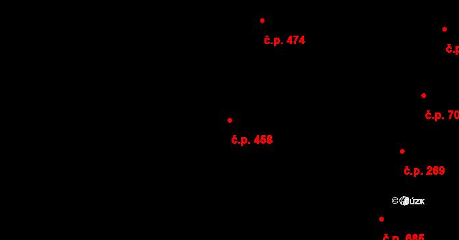 Nivnice 458 na parcele st. 2068/8 v KÚ Nivnice, Katastrální mapa