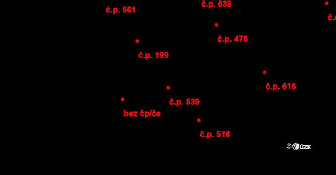 Boršice 539 na parcele st. 668 v KÚ Boršice u Buchlovic, Katastrální mapa
