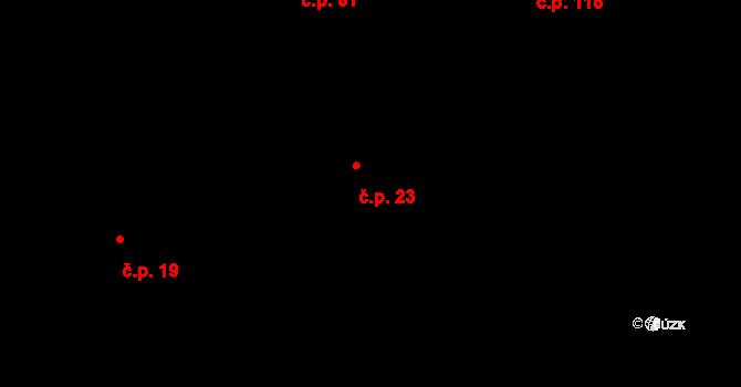 Žumberk 23 na parcele st. 23 v KÚ Žumberk, Katastrální mapa