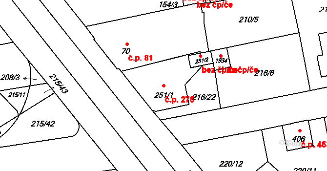 Hrabůvka 275, Ostrava na parcele st. 251/1 v KÚ Hrabůvka, Katastrální mapa
