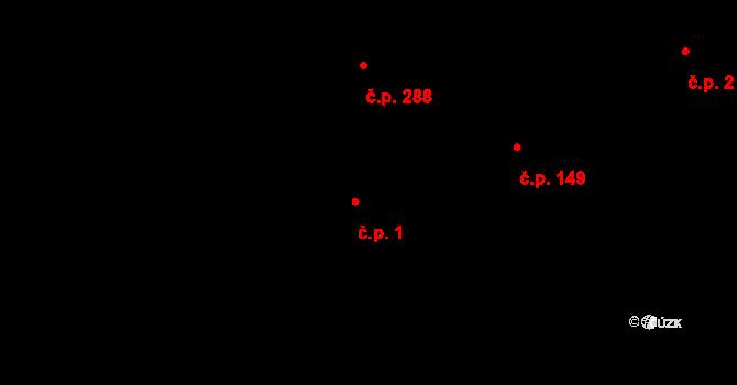 Davle 1 na parcele st. 2/1 v KÚ Davle, Katastrální mapa