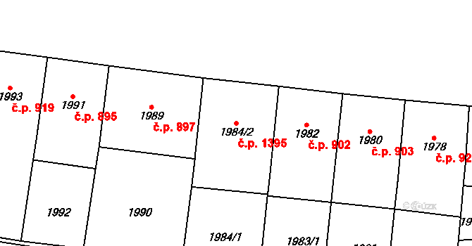 Vršovice 1395, Praha na parcele st. 1984/2 v KÚ Vršovice, Katastrální mapa