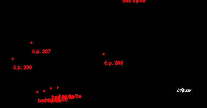 Ivanovice na Hané 208 na parcele st. 17 v KÚ Ivanovice na Hané, Katastrální mapa