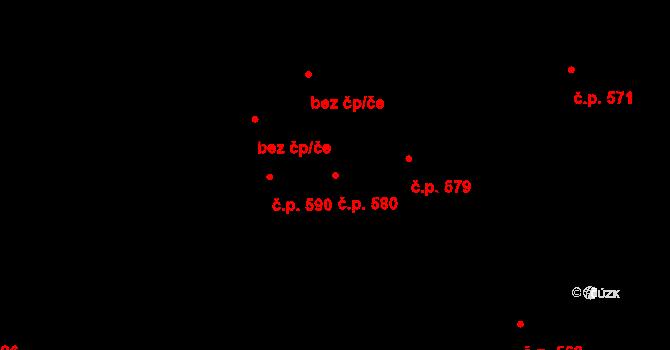 Mariánské Hory 580, Ostrava na parcele st. 524/1 v KÚ Mariánské Hory, Katastrální mapa