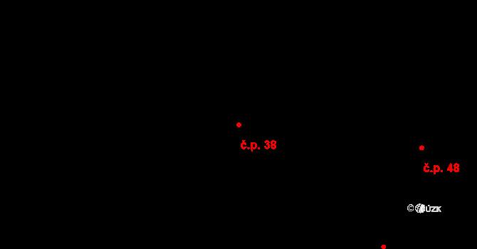 Zářecká Lhota 38 na parcele st. 47 v KÚ Zářecká Lhota, Katastrální mapa