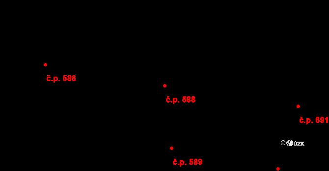 Vinohrady 588, Praha na parcele st. 102 v KÚ Vinohrady, Katastrální mapa