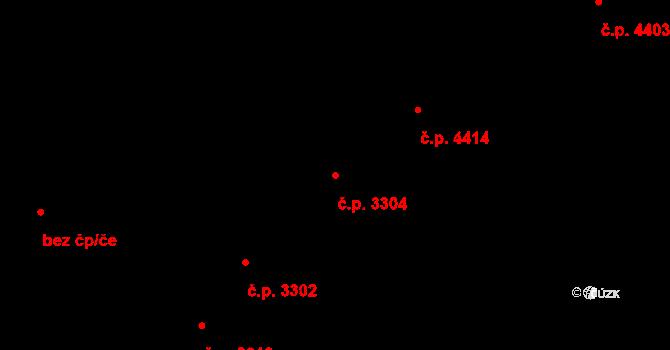 Zlín 3304 na parcele st. 3899 v KÚ Zlín, Katastrální mapa