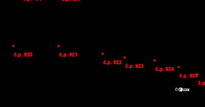 Prostějov 922 na parcele st. 1506 v KÚ Prostějov, Katastrální mapa