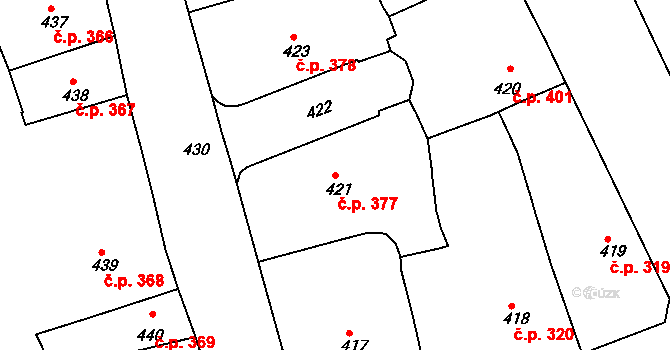 Brno-město 377, Brno na parcele st. 421 v KÚ Město Brno, Katastrální mapa