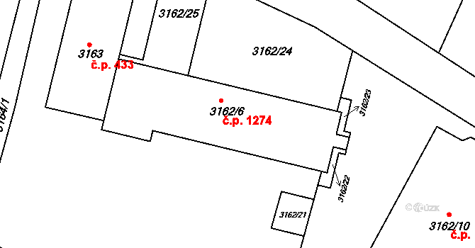 Moravský Krumlov 1274 na parcele st. 3162/6 v KÚ Moravský Krumlov, Katastrální mapa