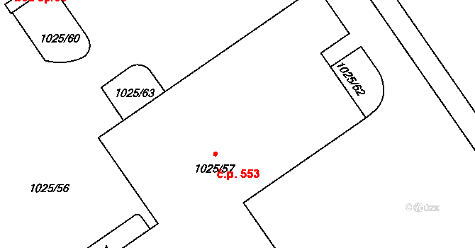 Slavonín 553, Olomouc na parcele st. 1025/57 v KÚ Slavonín, Katastrální mapa