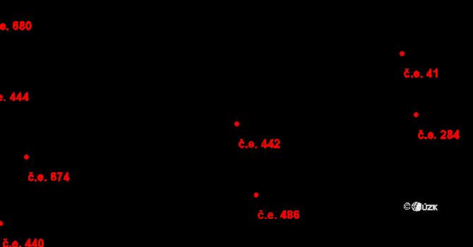 Komín 442, Brno na parcele st. 2602 v KÚ Komín, Katastrální mapa