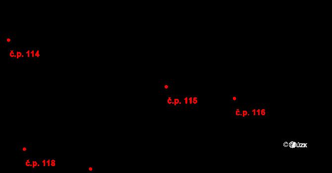 Lidice 115 na parcele st. 370 v KÚ Lidice, Katastrální mapa