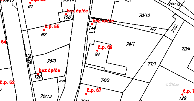 Sedlejov 69 na parcele st. 84 v KÚ Sedlejov, Katastrální mapa