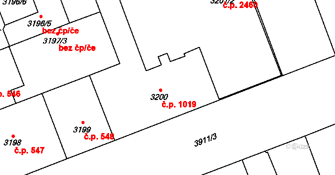 Libeň 1019, Praha na parcele st. 3200 v KÚ Libeň, Katastrální mapa