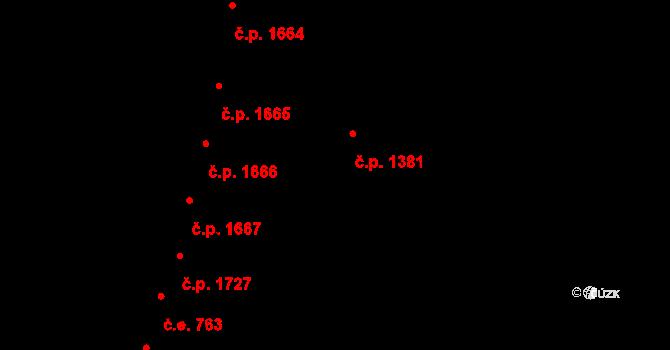 Aš 1381 na parcele st. 1500 v KÚ Aš, Katastrální mapa