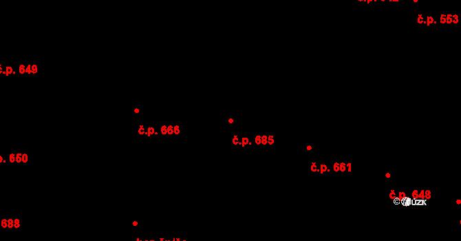 Hradec Králové 685 na parcele st. 775 v KÚ Hradec Králové, Katastrální mapa