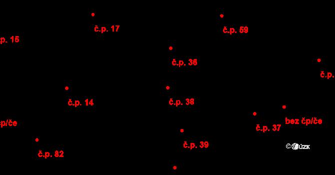 Vlachova Lhota 38 na parcele st. 85 v KÚ Vlachova Lhota, Katastrální mapa