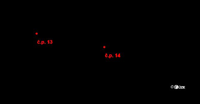 Řešetova Lhota 14, Studnice na parcele st. 2 v KÚ Řešetova Lhota, Katastrální mapa