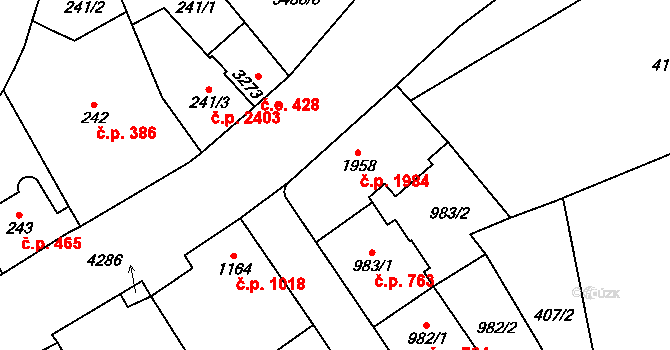 Aš 1984 na parcele st. 1958 v KÚ Aš, Katastrální mapa