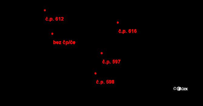 Slavonín 597, Olomouc na parcele st. 533/240 v KÚ Slavonín, Katastrální mapa