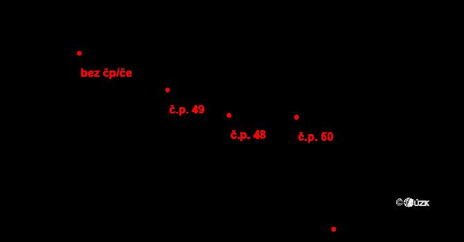 Kamenný Újezd 48 na parcele st. 47 v KÚ Kamenný Újezd u Rokycan, Katastrální mapa