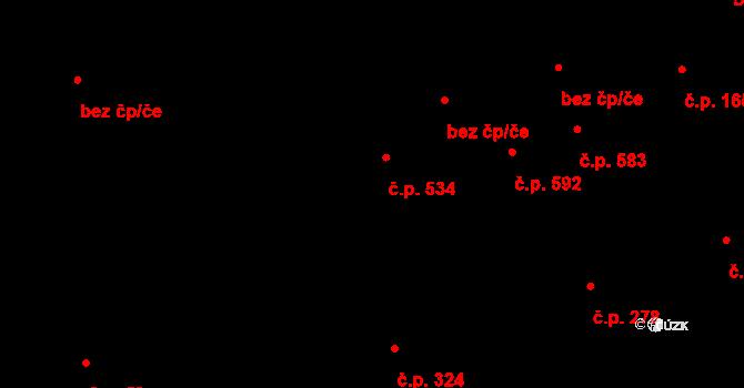 Staré Město 534, Třinec na parcele st. 822/1 v KÚ Třinec, Katastrální mapa