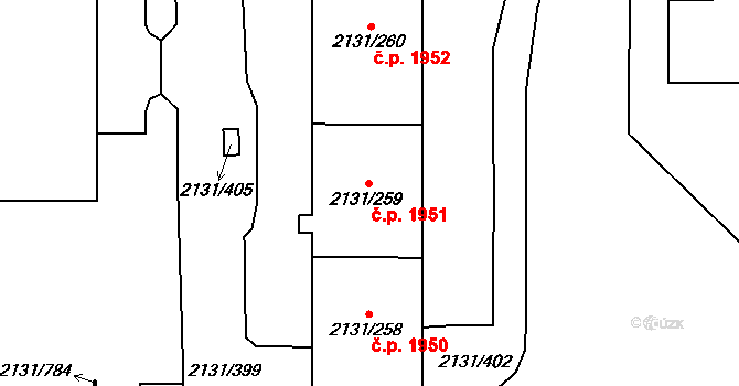 Stodůlky 1951, Praha na parcele st. 2131/259 v KÚ Stodůlky, Katastrální mapa