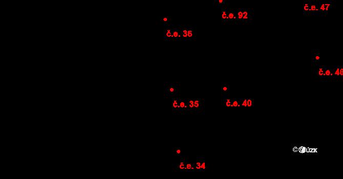Prštné 35, Zlín na parcele st. 927 v KÚ Prštné, Katastrální mapa