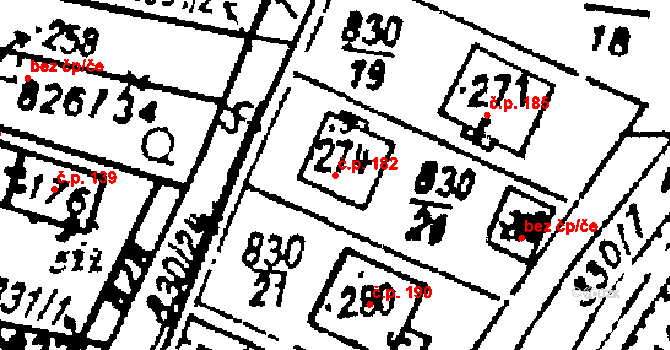 Studánka 182 na parcele st. 274 v KÚ Studánka u Tachova, Katastrální mapa