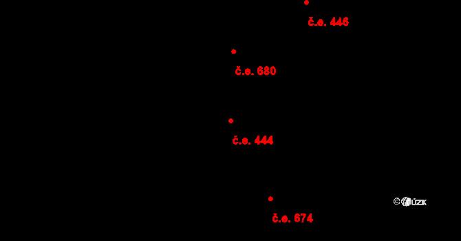 Komín 444, Brno na parcele st. 2608 v KÚ Komín, Katastrální mapa