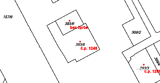 Hradec Králové 1248 na parcele st. 393/8 v KÚ Hradec Králové, Katastrální mapa