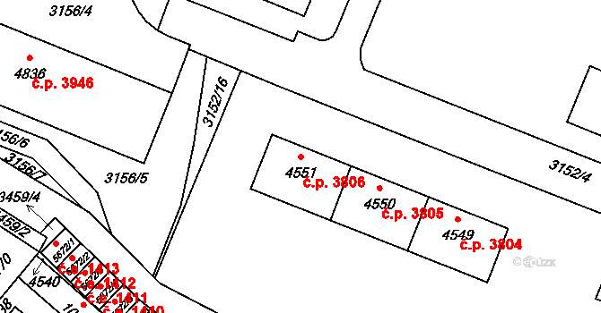 Zlín 3806 na parcele st. 4551 v KÚ Zlín, Katastrální mapa