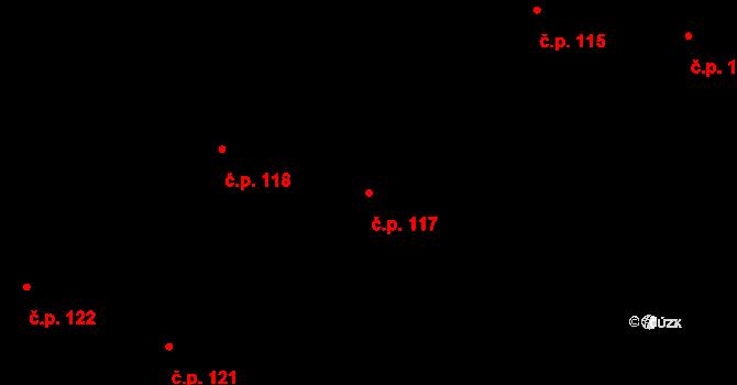 Lidice 117 na parcele st. 356 v KÚ Lidice, Katastrální mapa