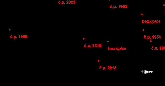 Teplice 3310 na parcele st. 2933/4 v KÚ Teplice, Katastrální mapa