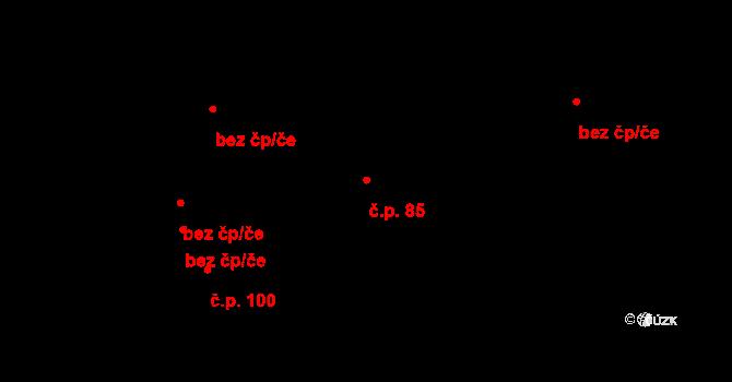 Sobáčov 85, Mladeč na parcele st. 87/2 v KÚ Mladeč, Katastrální mapa