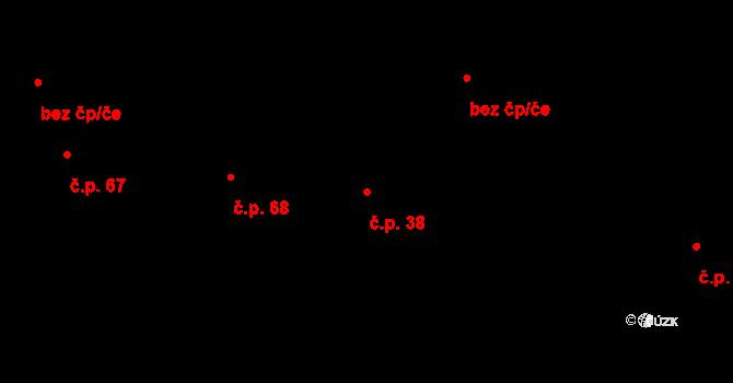 Bílá Lhota 38 na parcele st. 99/1 v KÚ Bílá Lhota, Katastrální mapa