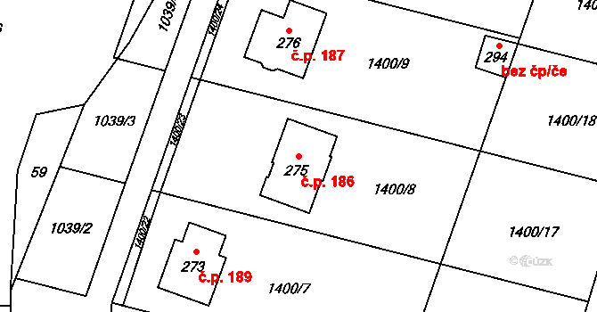 Panenský Týnec 186 na parcele st. 275 v KÚ Panenský Týnec, Katastrální mapa