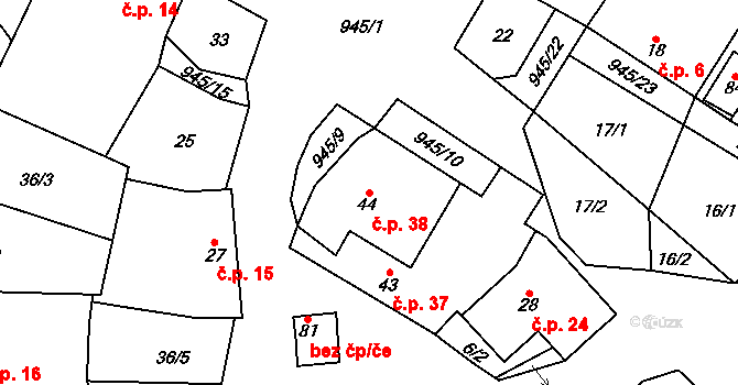 Lhota u Lysic 38 na parcele st. 44 v KÚ Lhota u Lysic, Katastrální mapa