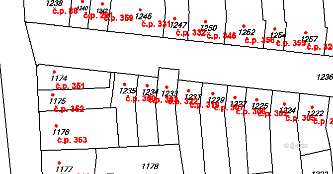 Újezd u Brna 322 na parcele st. 1233 v KÚ Újezd u Brna, Katastrální mapa